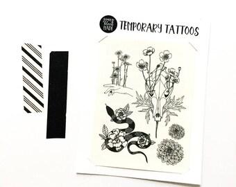 Temporary Tattoo Botanical Collection, Original Illustrations, Dahlia Tattoo, Snake Tattoo, Gardenia, Buttercups, Coyote Skull, Skull Tattoo