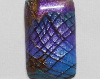 Faux Labradorite Rectangle Cabochon, Purple, Blue and Brown