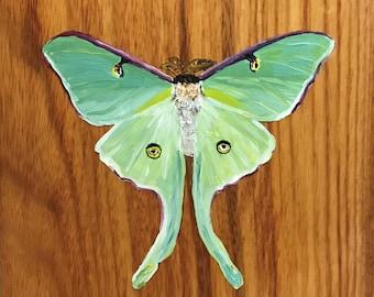 Original Luna Moth Oil Painting on Canary Wood