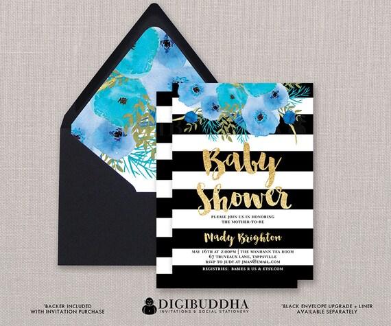 Black White Baby Shower Invitation Blue Boho Flower Stripe