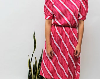 Bright Pink Diagonal Stripe Midi Dress Size UK 12, US 8, EU 40
