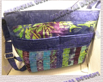 Tropical Paradise - Pockets, Pockets, Pockets Handbag - adjustable strap, 10 pockets, cotton, beige, brown, purse, one-of-a-kind, ladies