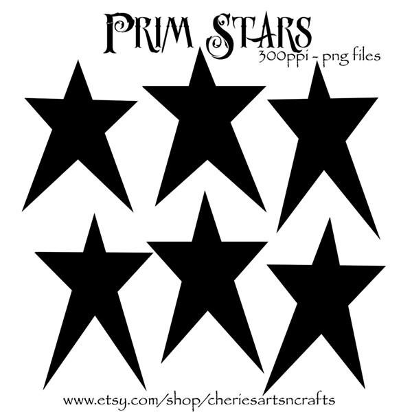 Prim Stars Clipart Primitive Style Graphics Patriotic Clip Art Vintage
