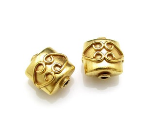 24K Gold Vermeil Bead, 9mm, Two beads