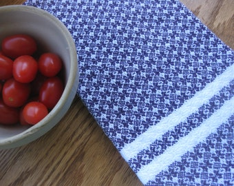 Dark Purple and White Handwoven Dish or Kitchen Towel