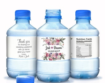 Watercolor Floral Water Bottle Labels - Birthday Water Bottle Labels - Floral Wedding - Bridal Shower Labels - Wedding Water Bottle Labels