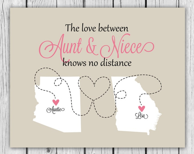 Personalized Gift for Aunt, Auntie Present, Mother's Day Gift Idea from Niece Nephew Special Family Custom Map Art Print Mothers Godmother