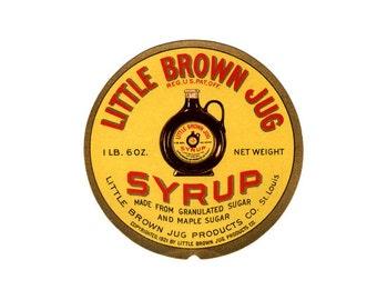 2 Little Brown Jug Syrup labels