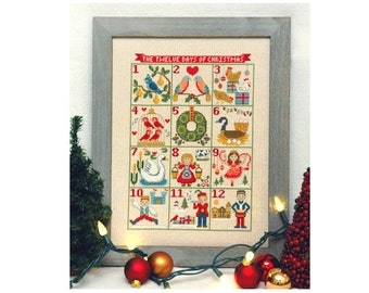 INSTANT DOWNLOAD Tiny Modernist 12 Days of Christmas PDF counted cross stitch patterns