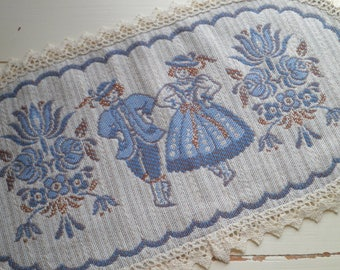 Vintage Folk Art Doily - Austrain Folk Couple + Floral Table Cloth / Coaster / Doily, Retro Embroidery & Lace Bavarian Home Decor Fiber Gift