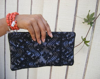 Black Lace over silver lamb clutch with Swarovski crystal accents
