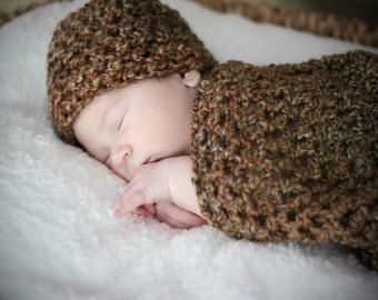 Brown Sugar Newborn Cocoon and Beanie Hat Set
