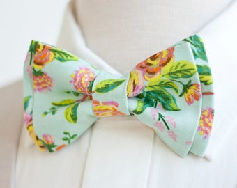 Bow Tie, Mens Bow Tie, Bowtie, Bowties, Bow Ties, Groomsmen Bow Ties, Wedding Bowties, Floral Ties, Rifle Paper Co - Jardin De Paris Mint