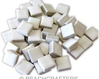 50 - 3/8 inch WHITE Ceramic Mosaic Tiles