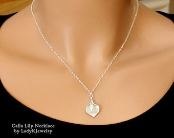 Silver Calla Lily Necklace, STERLING SILVER CHAIN, Handmade Jewelry, LadyKJewelry