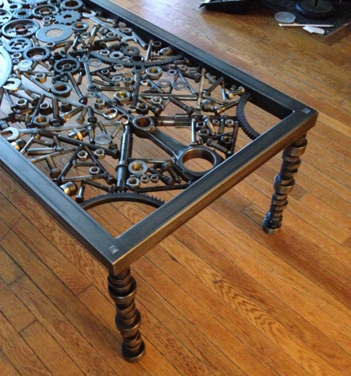 Hand made coffee table metal coffee table metal art table