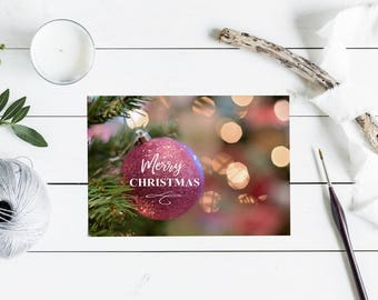 Merry Christmas Greeting Card Set - Pink Ornament, 7x5""