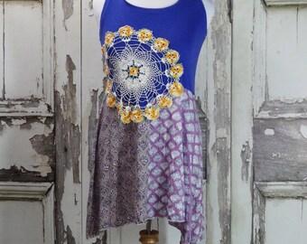 Summer Tank Dress Upcycled Clothing Burning Man Boho Chic Tshirt Dress