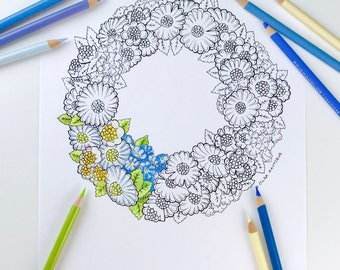 Camomile Daisy Flower Coloring Page for Adults digital coloring hand drawn flowers Line Art by Olga Zaytseva Wreath Cake adult coloring page