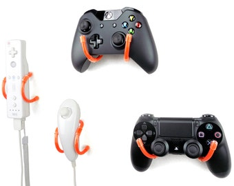 Wall Clip - Xbox, PlayStation, Wii, and Retro Game Controller Organizer - 4 Pack, Orange