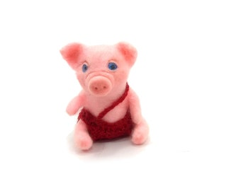 Miniature pig toy pig realistic animals miniature animal piglet piggy animals for dollhouse little pig needle felted pig cute pig