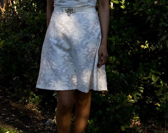 White Jacquard print dress