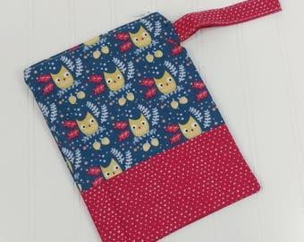 Wet Bag Zippered (Small) - Owls & Tiny Hearts