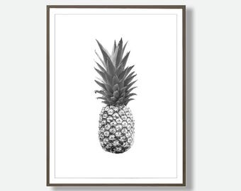 Pineapple Print, Tropical Fruit Wall Art Decor, Black and White, Printable Instant Download, Modern Minimal, Feliss-Art