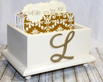 GUEST Book Box / Advice Box / Ivory Card Box / Gold and Ivory Wedding / Monogram Box / Gold Damask Dividers / Alphabetized Dividers / Custom