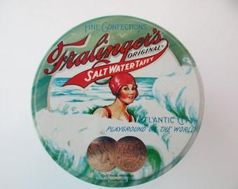 vintage souvenir Fralinger's Salt Water Taffy candy tin- swimmer, beach, ocean, blue, aqua