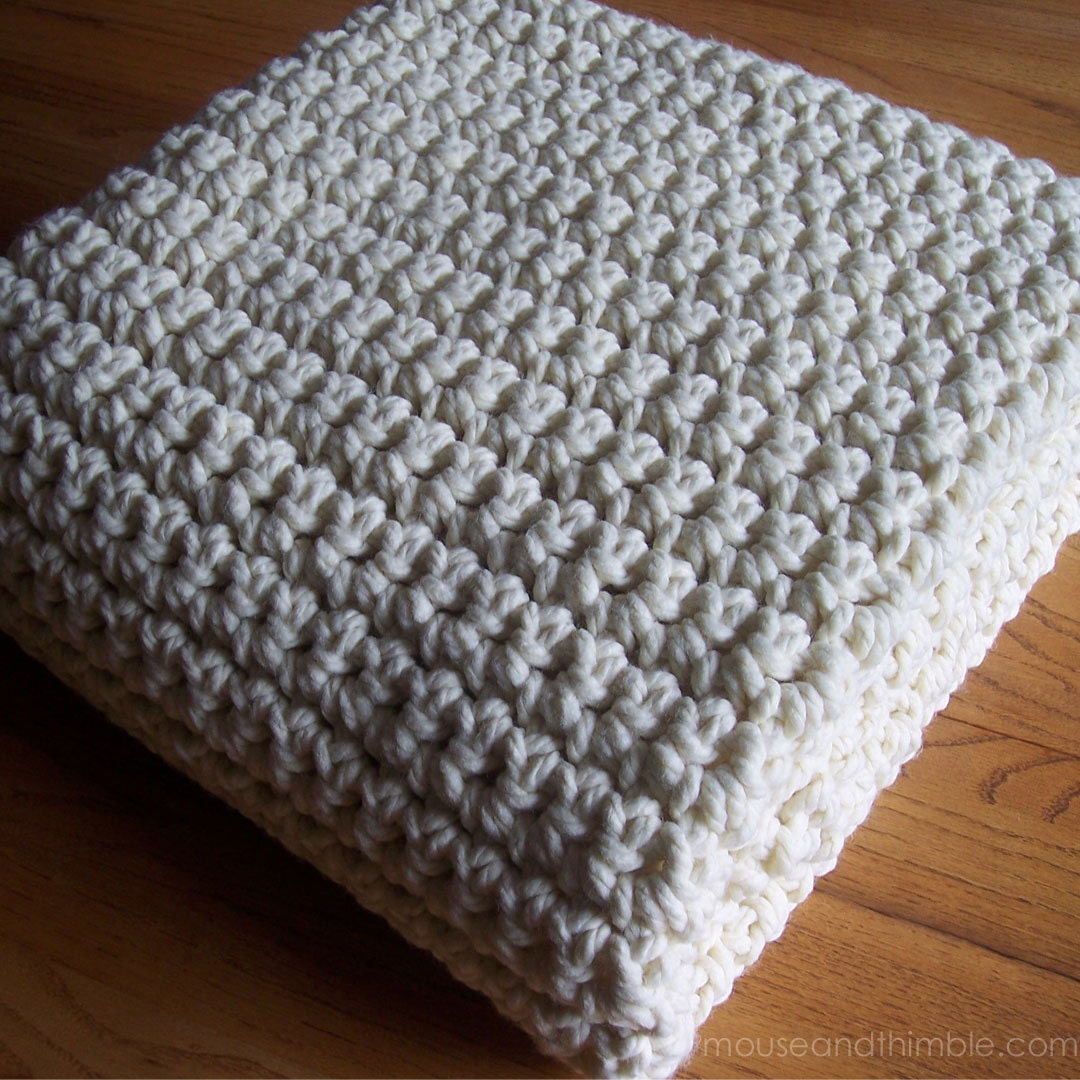 Extra Large Chunky Afghan Blanket / Quick & Easy / Crochet