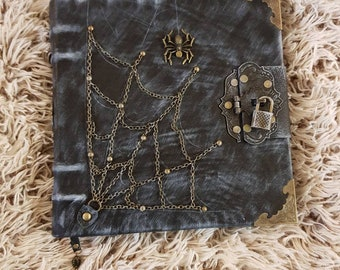 old book of spells  genuine leather handmade Spider