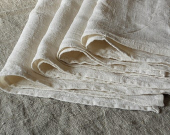 Linen hand towel tea towel dish towel set of 4 natural white washed wrinkled vintage look towels