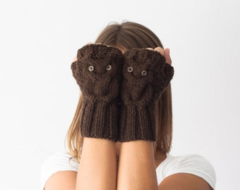 Sales Brown owl fingerless gloves wrist warmers texting mittens hand knit gloves half finger gloves hand warmers knitted gloves