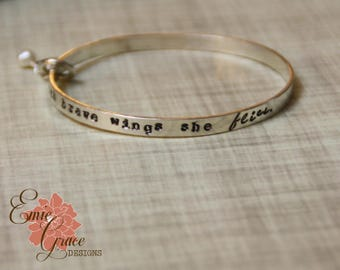 Sterling Silver Bangle Bracelet, Silver Bird, Pearl, With Brave Wings She Flies, Hand Stamped