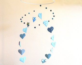 Baby blue heart origami mobile
