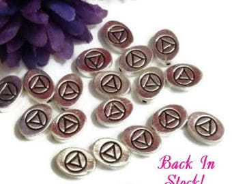 AA Slide Beads Silver Tone Charms - Alcoholics Anonymous 12 Step Recovery