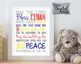 PRINTABLE Personalized Baptism Gift - Baby Boy Wall Art - Bible Quote Subway Art / May The Lord Bless This Child Scripture Numbers 6: 24-26