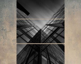 High Rise Buildings France Triptych Metal Wall Art