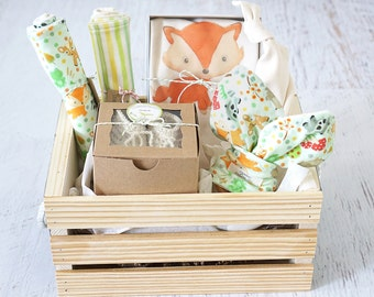 Baby gift basket fox baby clothes gender neutral baby personalized baby gifts fox baby clothes gender neutral baby organic baby gift basket negle Image collections