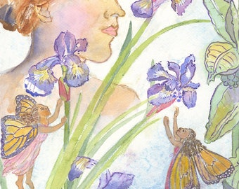 Irises Milkweed and Fairies Archival Print, By Michelle Kogan, Art & Collectibles, Watercolor, Painting, Giclee, Drawing and  Illustration