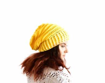 Yellow slouchy beanie for woman crochet beanie oversized slouchy hat winter hat yellow winter hat slouch beanie slouchy hat crochet beanie