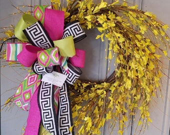 Spring Wreath, Grapevine Wreath, Flower Wreath, Forsythia Wreath, Yellow Wreath, Easter Wreath