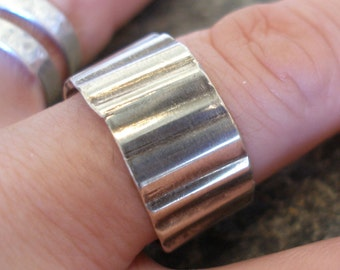 Unisex Sterling Silver Corrugated Thumb Band Ring. Rippled, Wide and Blackened. Made in any size.  Open Back.  Gift for him or her.
