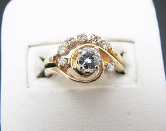 a460 14k Yellow Gold Engagement Ring with Wedding Band set w/ .50 Carats