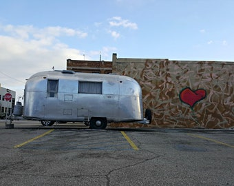 Airstream trailer photo, camper, photography, silver, vintage, retro, graffiti, tagging, red heart, Airstream art, silver, vintage wall art