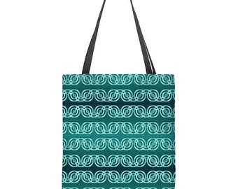 Teal tote bag, ombre tote, turquoise tote bag, geometric tote, holiday gift, Christmas gift for her, birthday gift, womens gift