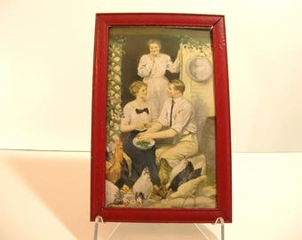 Courting Couple Antique Framed Print