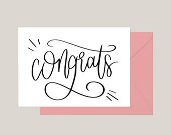 Printable Congratulations Card | Greeting Card | Engagement Card | | Wedding Congratulations Card | A2 Card | Graduation Card
