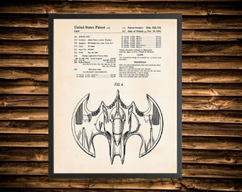 Framed Batman Bat Wing Patent Print - Comic Book Heroes (Multiple Sizes)
